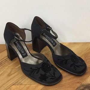 Satin Embroidered Mary Jane Heels